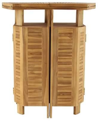 Bayou Breeze Kezia Rustic Teak Wood Extendable Bar Table
