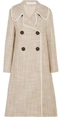 See by Chloe Double-Breasted Faux Leather-Trimmed Tweed Coat