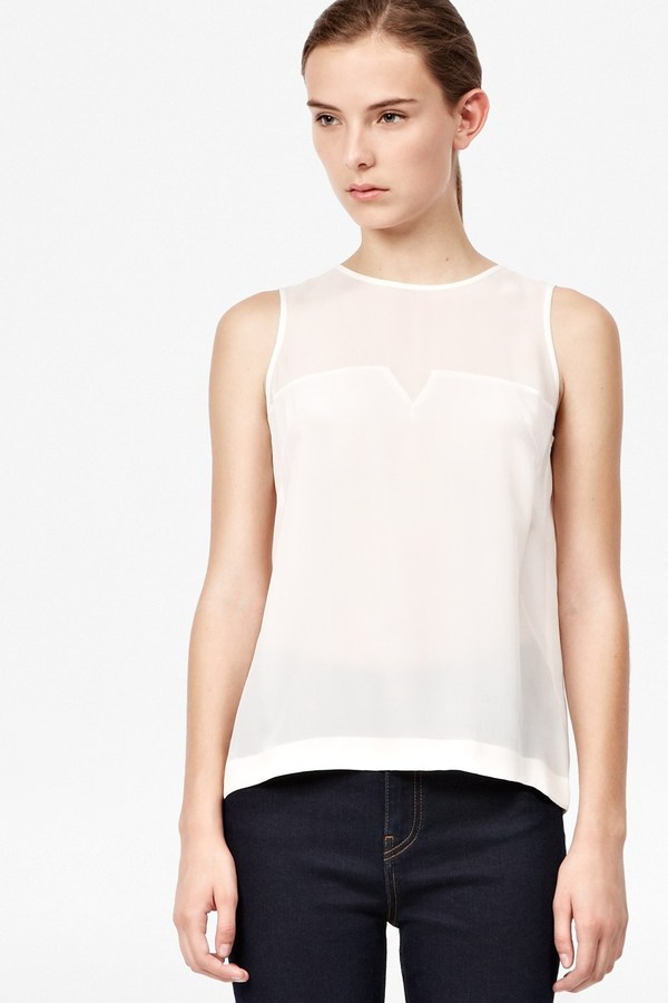French Connection Prism Silk Block Sleeveless Top