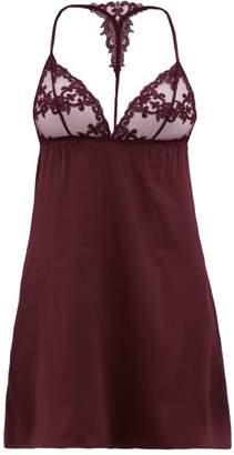 Fleur of England Bordeaux Lace Trimmed Silk Blend Satin Slip Dress - Womens - Dark Red