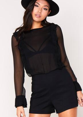 22011fe819 Missy Empire Missyempire Saskia Black Long Sleeved Sheer Playsuit