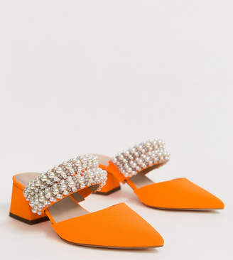 Asos Design DESIGN Wide Fit Wings pearl embellished block heeled mules in neon orange