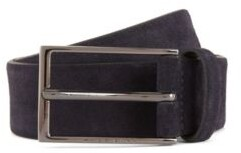 BOSS Soft suede leather belt with polished gunmetal pin buckle