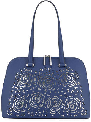 Christian Siriano Janelle Floral Laser-Cut Dome Satchel Bag