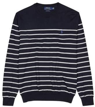 Polo Ralph Lauren Navy Striped Cotton Blend Jumper