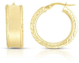 Sphera Milano 14K Yellow Gold Satin Finished 19mm Wide Hoop Earrings