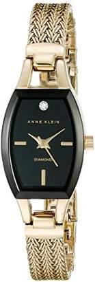 Anne Klein Women's AK/2184BKGB Diamond-Accented Dial Gold-Tone Mesh Bracelet Watch