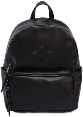 John Richmond Logo Embossed Faux Leather Backpack