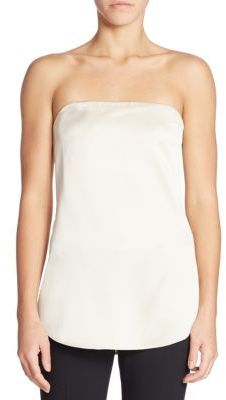 Theory Zalballa Strapless Silk Top $265 thestylecure.com