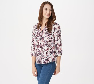 NYDJ Pullover 3/4-Sleeve Pintuck Blouse