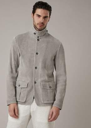 Giorgio Armani Safari Jacket In Perforated And Washed Lambskin
