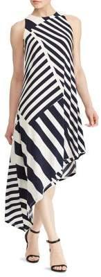 Lauren Ralph Lauren Striped Asymmetrical Jersey Dress
