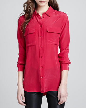Equipment Signature Silk Pocket Blouse, Red