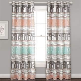 "Lush Decor 52""x84"" Set of 2 Llama Stripe Room Darkening Window Curtain Panels"