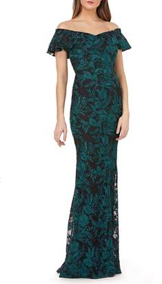 Carmen Marc Valvo Sweetheart Embroidered Off the Shoulder Gown