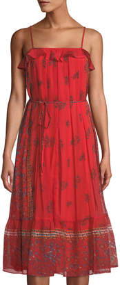Endless Rose Square-Neck Pleated Midi Dress