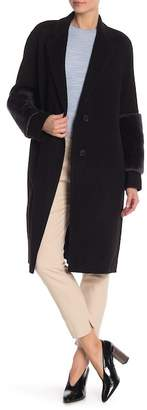 Vince Genuine Lamb Fur Trimmed Long Coat