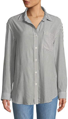 7 For All Mankind Striped Long-Sleeve Button-Front Shirt
