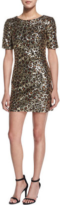 French Connection Leo Lux Embellished Mini Dress, Gold $348 thestylecure.com