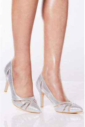 Quiz Silver Diamante Mesh Court Heels