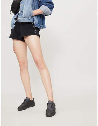 The Kooples Stud-embellished cotton-jersey shorts
