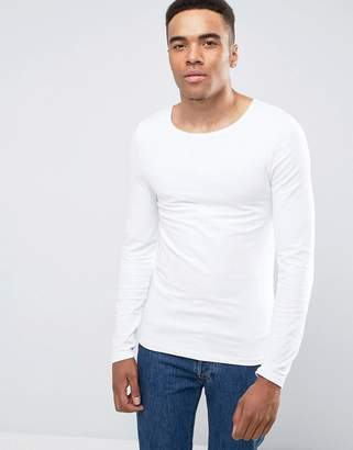 Asos Design Extreme Muscle Fit Long Sleeve T-Shirt With Scoop Neck In White