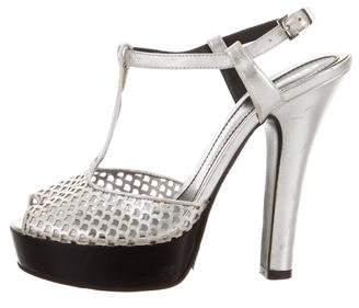 Fendi Leather Peep-Toe Platform Sandals