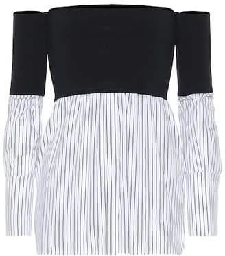Victoria Beckham Victoria Off-the-shoulder cotton-blend top