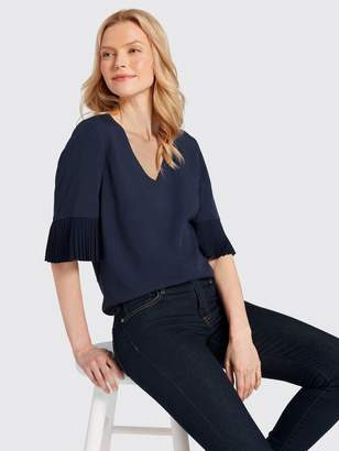 Draper James Pleated Sleeve Blouse