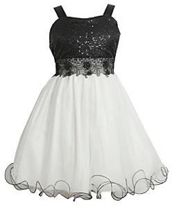 Bonnie Jean Girls' 7-16 Black/White Sequin Dress With Wire Hem
