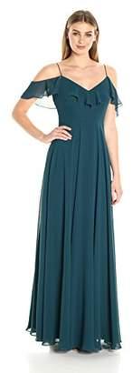 Jenny Yoo Women's Mila Ruffle Shoulder Gown