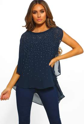 4c6f0f8a1e5 Pink Boutique Brighten My Day Navy Embellished Split Sleeve Chiffon Top