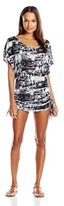 Lucky Brand Women's Global Tie Dye Knit Shirred Tunic Cover up $68 thestylecure.com