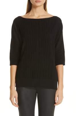 Lafayette 148 New York Plisse Ribbed Dolman Sweater