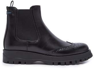Prada Brogue-detail leather ankle boot