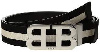 Bally Mirror B Buckle Stripe Canvas and Leather Belt Men's Belts