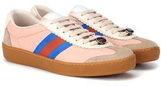 Gucci Web striped leather sneakers