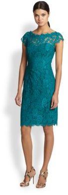 Monique Lhuillier ML Lace Sheath Cocktail Dress