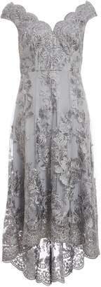 Dorothy Perkins Womens *Grey Embroidered Bardot Dress