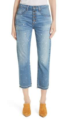 Veronica Beard Ines Paint Splatter Crop Girlfriend Jeans (Pipeline)