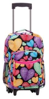 """Rockland Hearts 17"""" Rolling Backpack"""