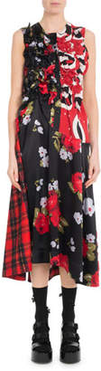 Simone Rocha Sleeveless A-Line Ruched Floral-Print & Plaid Tartan Dress