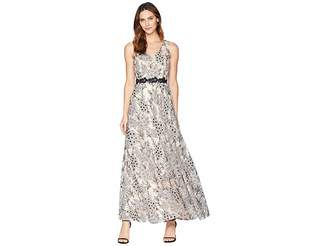 Tahari ASL Novelty Embroidery Sleeveless A-Line Gown Women's Dress