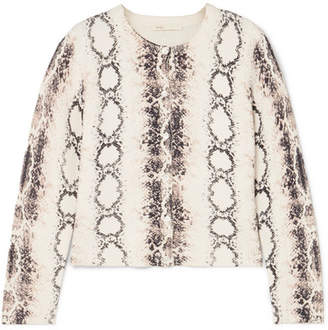 21be7aaaa3 Maje Snake-print Knitted Cardigan - Ivory