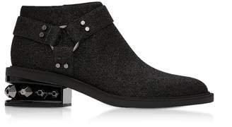 Nicholas Kirkwood Black Glitter Textured Canvas And Leather 35mm Suzi Low Biker Boots