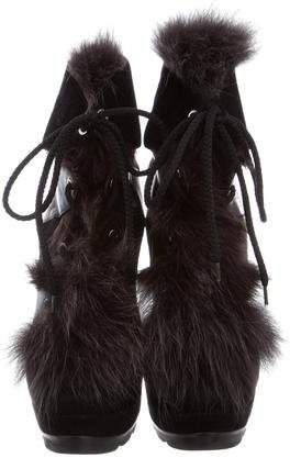 Walter Steiger Fox Fur-Trimmed Ankle Boots