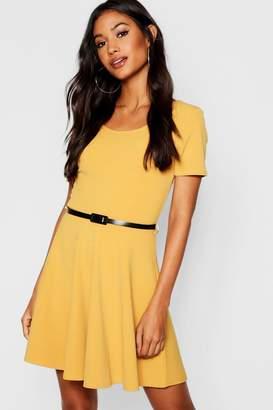 boohoo Short Sleeve Belted Skater Dress
