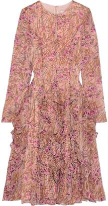 Mikael Aghal Flared Ruffled Floral-print Georgette Dress