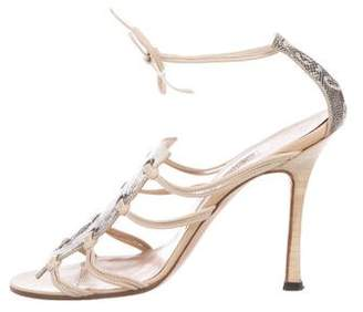 Manolo Blahnik Lizard Wrap-Around Sandals