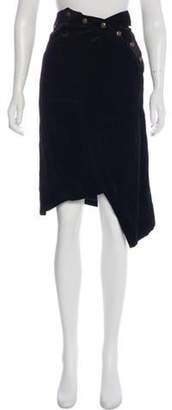 Christian Dior Corduroy Knee-Length Skirt Black Corduroy Knee-Length Skirt